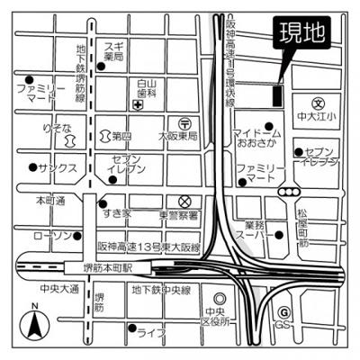 【地図】本町橋タワー