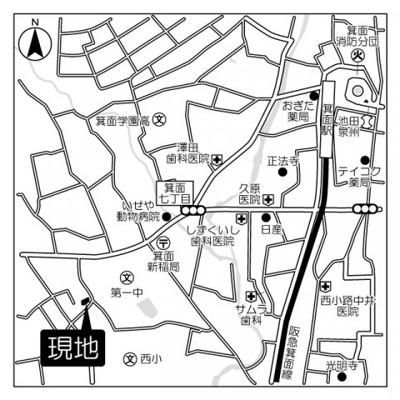 【地図】箕面ブジーノース B棟