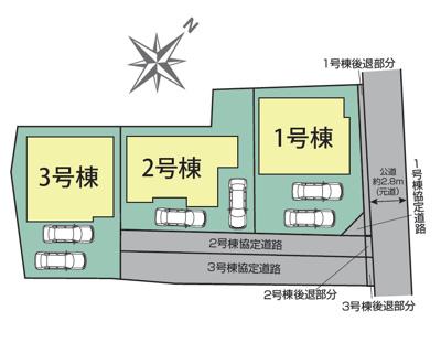 【区画図】港区船頭場1丁目 全3棟 2号棟 <仲介手数料無料>福田小・南陽中 新築一戸建て