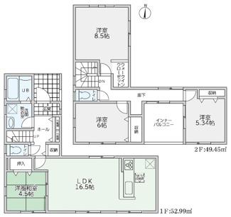 全室収納スペースを確保し、暮らしやすさに配慮。陽当たりも考えた間取りとなっております。