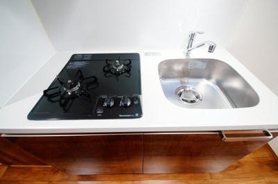システムキッチン二口ガスコンロ