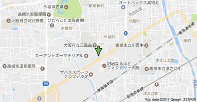 【地図】グランブルー高槻 (株)Roots