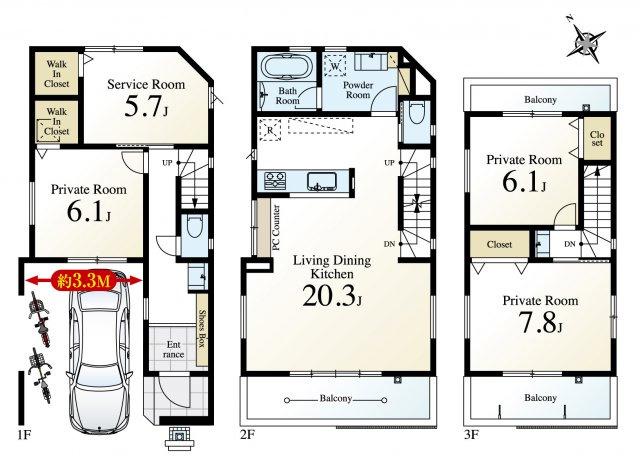 C号棟 土地面積80.34㎡ 建物面積131.08㎡  ゆとりある空間設計の邸宅 2階リビングは20帖のプレミアムな大空間 WIDを2ヵ所完備 玄関にも独立洗面台を配置いたしました