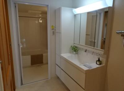 鏡裏が収納となる三面鏡化粧台を採用。洗面化粧台の横にも収納があり、洗面周りが綺麗に片付きます♪