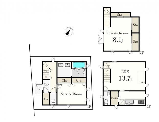 1LDK+S(納戸)、土地面積50.13m2、建物面積80.17m2 、南西向き 住友不動産施工 2008年築 戸建
