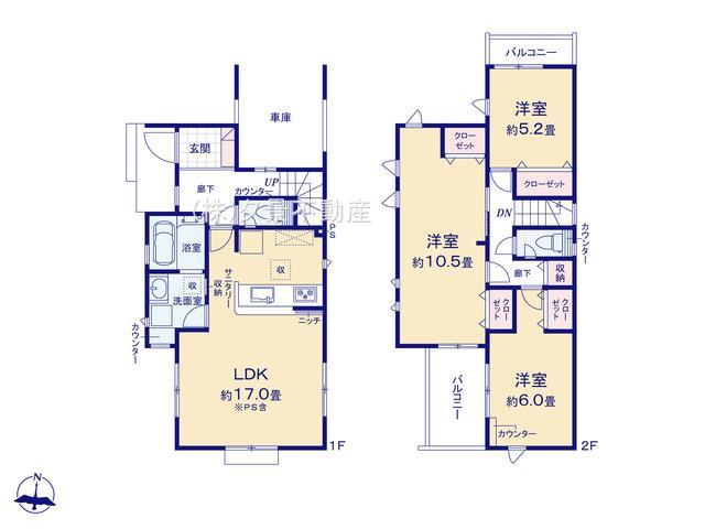西区三橋5丁目1868-2全3戸(1号棟)新築一戸建てブルーミングガーデン