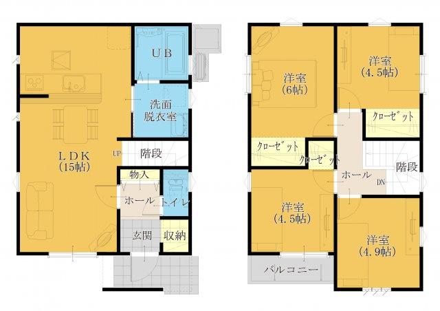 24坪 4LDK。全居室、フローリング設計☆