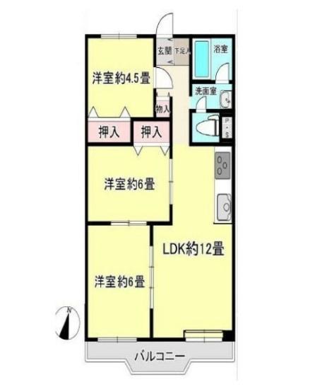 専有面積65.20、バルコニー6.18平米~6階南東向き、日当たり、眺望、通風良好、全居室フローリングの3LDK