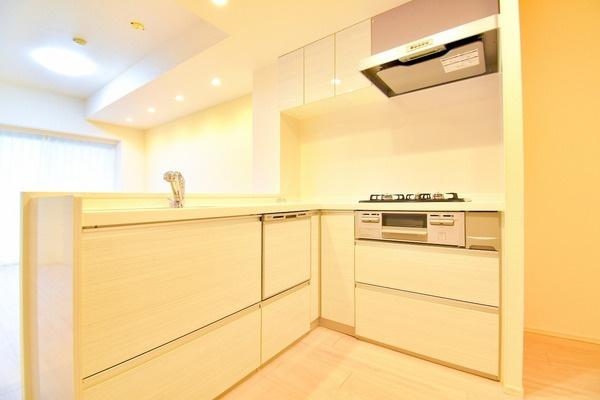 充実の設備がついたお洒落なキッチン。 食洗器付きなのは家事の負担を軽減してくれる嬉しいポイント。