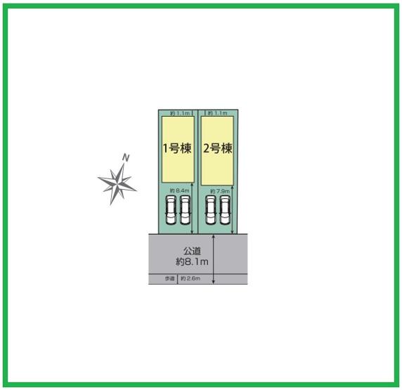 区画図です。耐震等級3(最上位等級)劣化対策等級(最上位等級)など住宅性能表示住宅です。