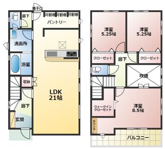 高浜市向山町1丁目新築分譲住宅1号棟間取りです。