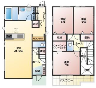 高浜市向山町1丁目新築分譲住宅2号棟間取りです。