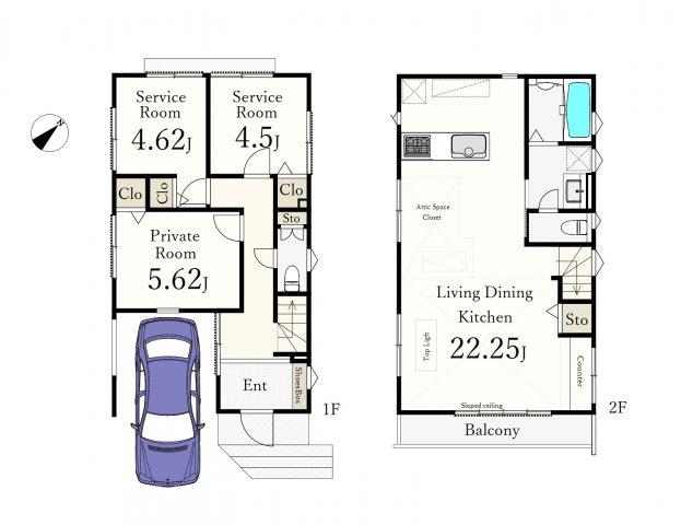 (3号棟)、1LDK+2S、土地面積77.62m2、建物面積95.57m2