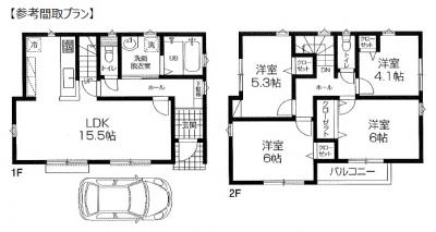 建物参考プラン:1E 42.23m2・2F 46.78m2/計89.01m2 参考価格:1,700万円