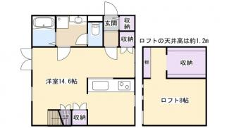 ロフト8帖を寝室に洋室部分をリビングに快適な1LDKとしてご活用頂けます