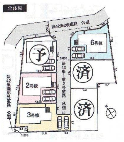 【区画図】羽村市羽中3丁目 新築戸建全6棟