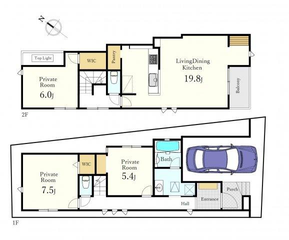 土地面積86.84m2、建物面積107.12m2の大型3LDK 家族の集うLDKは19.8帖の開放的な空間です