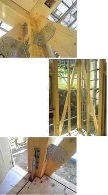住宅には耐力壁と呼ばれる地震や風の力に耐える壁が存在します。それぞれに対して金物を用いて緊結します。またそれら壁に対し引き抜き力に抵抗する金物も取り付けております。