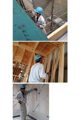 屋根が出来上がり、構造金物や耐力壁・防水等の工事が終わると中間検査になります。法令検査はもちろん、基礎同様専門の係員と工事監督がチェックします。
