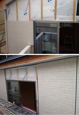 中間検査が終わると外壁工事になります。当社ではサイディングと呼ばれる工場で生産される乾式の板状のセメント板になり耐火性や耐久性などに非常に優れたものになります。