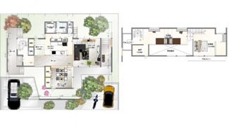 ・参考プラン価格:1850万(別途外構費290万)     ・建物価格は参考価格になります。 (弊社標準建物28坪で計算した価格です)       ・参考プラン延床面積:144.08㎡
