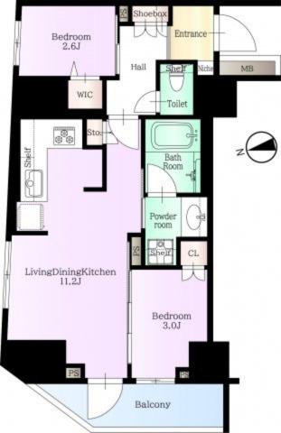 42.02平米、2LDKのお部屋です。キッチンはL字の3口コンロで使いやすい間取りです。
