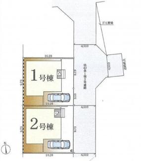 【区画図】茅ヶ崎市萩園40 新築戸建 全2棟1号棟
