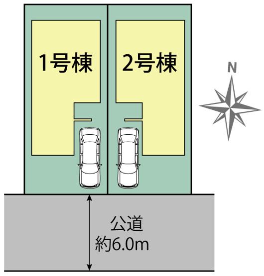 【区画図】東大和市向原3丁目 新築戸建て 全2棟 2号棟~南道路につき陽当り良好♪~