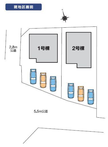 2号棟 カースペース3台可能です。前面道路も約5.5mありますので駐車もラクラクですよ。