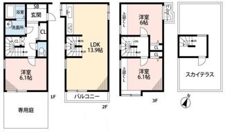 戸建てのように暮らすことのできるタウンハウス。屋上付き。