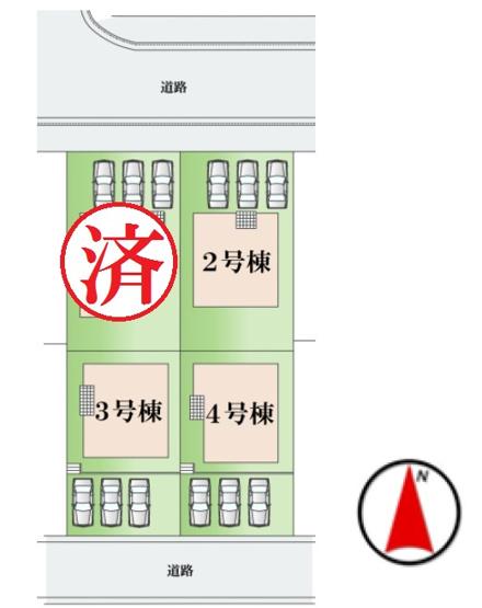 【区画図】龍ヶ崎市松ヶ丘3期 全4棟