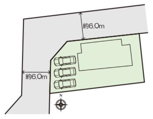 カースペース3台可能です。前面道路も約6mありますので駐車もラクラクですよ。
