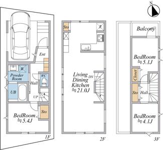 建物プラン例(B区画)(土地価格5900万円、土地面積57.58m2・建物価格2480万円、建物面積87.01m2)