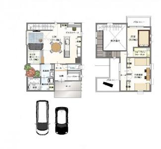 ・参考プラン価格:1970万(別途外構費150万)     ・建物価格は参考価格になります。 (弊社標準建物28坪で計算した価格です)       ・参考プラン延床面積:96.78㎡