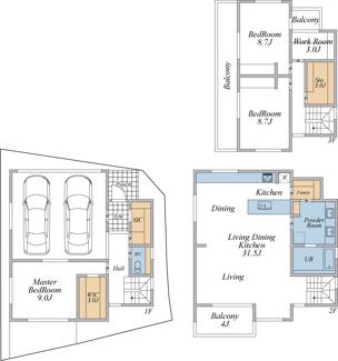 建物参考プラン(建物面積155.67平米・建物価格4000万円)