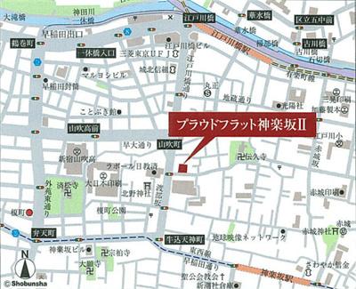 【地図】プラウドフラット神楽坂Ⅱ