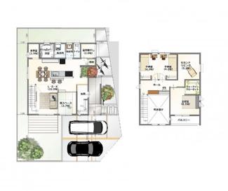 ・参考プラン価格:1850万(別途外構費190万)     ・建物価格は参考価格になります。 (弊社標準建物28坪で計算した価格です)       ・参考プラン延床面積:111.79㎡