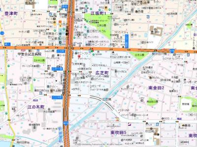 【地図】ノルデンハイム江坂