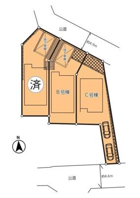【区画図】敷地約42坪!4LDK+大型2面バルコニー+地下車庫!旭区上白根1丁目新築戸建<全3棟>
