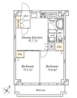 新規内装リノベーション、開放感溢れる最上階6階の南向き2DK