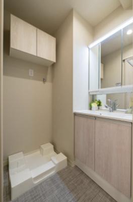 独立洗面台です。室内洗濯機置き場があります。