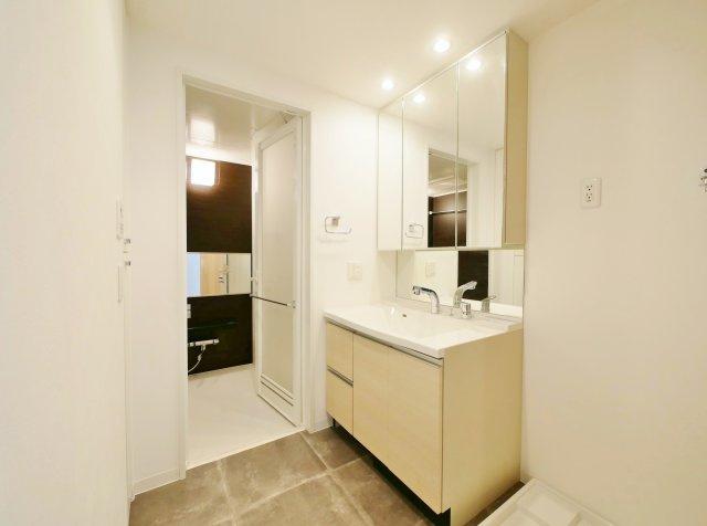 使い勝手のよい三面鏡の洗面台 鏡裏にも収納があるので水回りをキレイにお使い頂くことができます