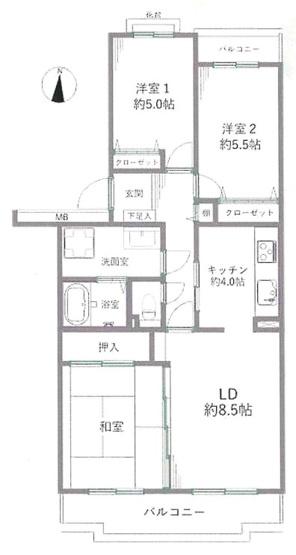 専有面積74.46平米、バルコニー面積10.71平米~2階南向き、両面バルコニー付き、日当たり、風通しの良い住居、ゆったりとしたファミリーにオススメの3LDKの間取り