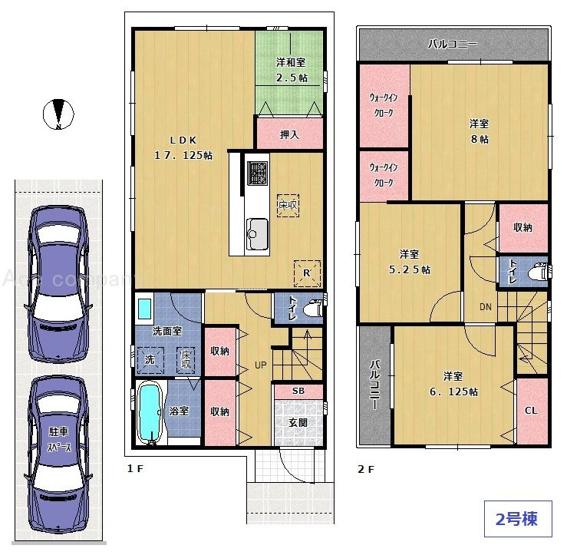【2号棟】駐車2台可能!リビングに和室コーナーあり♪ウォークインクローク2ヶ所に完備♪2面バルコニー(南・東)☆