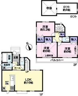 全居室収納付き、ロフトもあり収納豊富です。