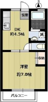 1DK 独立洗面台 バストイレ別 27.00㎡