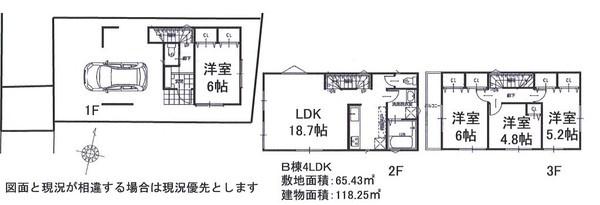 土地面積65.43平米 建物面積118.25平米 4LDK! 周辺は閑静な住宅地で住環境良好です。