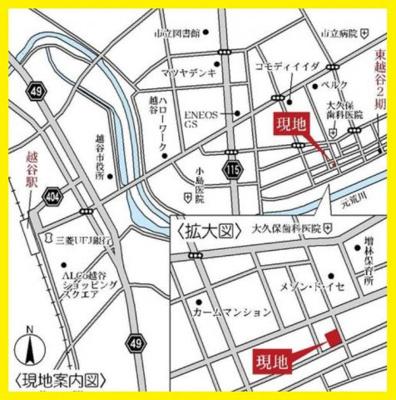 【地図】3号棟 越谷市東越谷新築戸建て3棟現場4LDK