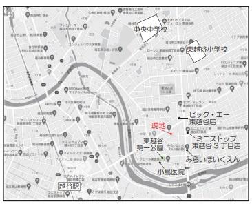 【地図】越谷市東越谷1期3号棟