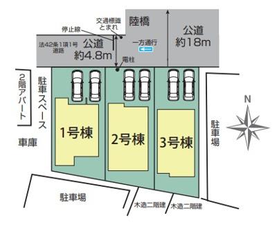 【区画図】3号棟 越谷市千間台東1丁目 新築戸建て 全3棟